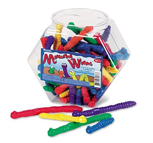 Learning Resources- Gusanos par medir Measuring Worms (Juego de 72), Color (LER0176)