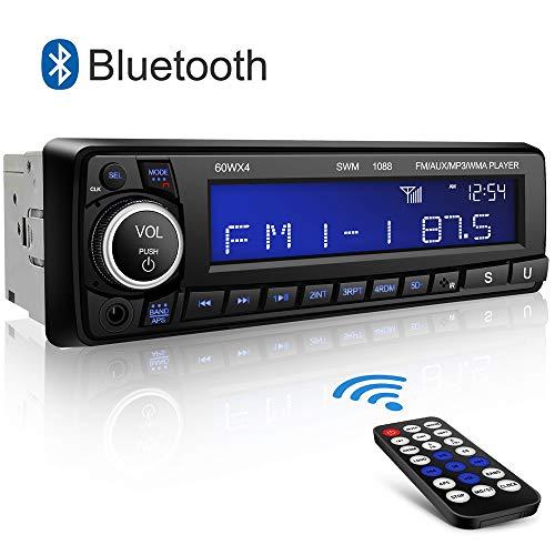 Autoradio Bluetooth Coche Kimood Autoradio Bluetooth Manos Libres con Pantalla Grande y Potencia de Salida 4 * 60W, Soporte 18 Estaciones de Memoria/AUX/MP3/WMA/FM Player/Control Remoto