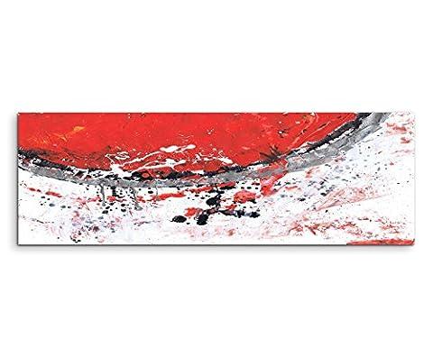 150x50cm Panoramabild abstrakt Leinwanddruck Kunstdruck Wandbild rot grau weiß schwarz Halbkreis Punkte