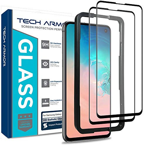 Tech Armor Ballistic Glass Screen Protector Designed for Samsung Galaxy S10e - Case-Friendly, Tempered Glass, Ultra-Thin, Scratch and Impact Protection with Easy Installation Tray - [2-Pack] Easy Tray