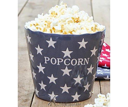 Krasilnikoff - Popcorn Schale, Schüssel - Grau mit weißen Sternen - Charcoal Star - Keramik - Höhe: 16 cm - Popcorn, Schüssel