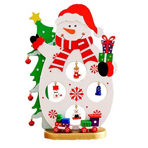 (WopenJucy Holzanhänger Weihnachtsanhänger DIY Weihnachts Baum Schmuck Hängeetiketten Schneemann Stil)
