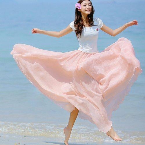 Minetom Femme été Bohème Style Longue Jupe élégante Jupe Chic en Mousseline de Soie Jupe pink