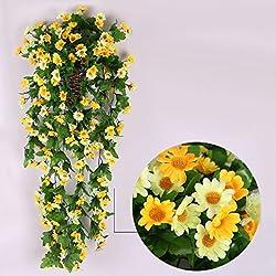 Vid de Flor Margarita Artificial Colgante Decoración para Boda Hogar -Amarillo