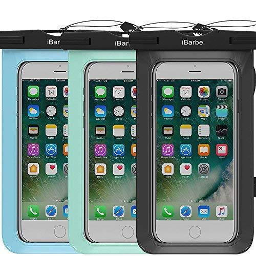 ibarbe 3Pack wasserdicht Fall Herrenohrringe, Universal Handy TPU Dry Bag für iPhone 77Plus 6S 6/6S Plus 5/S/SE 5C Samsung Galaxy Note 5S8S8Plus S 8S7S6Edge S5etc. zu 14,5cm, schwarz + blaugrün + Blau