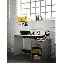 Mesa de estudio escritorio 120cm. Blanco, negro y gris. Para dormitorio habitación juvenil infantil.