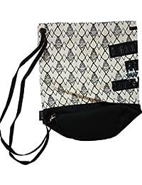Waterproof,school,collage,beach Bag, Purse Cum Sack Black And White With Dimond Shape Print