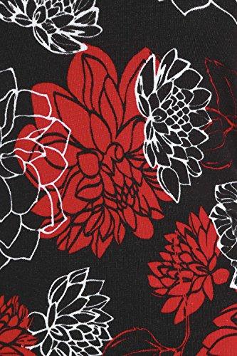 Roman Originals - Robe Manches 3/4 Motif à Fleurs - Noir Rouge