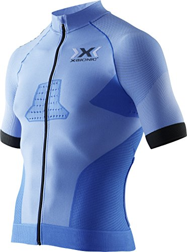 X-Bionic Race EVO Biking Shirt- Camiseta para hombre, Azul (Marina Blue/Anthracite), Large