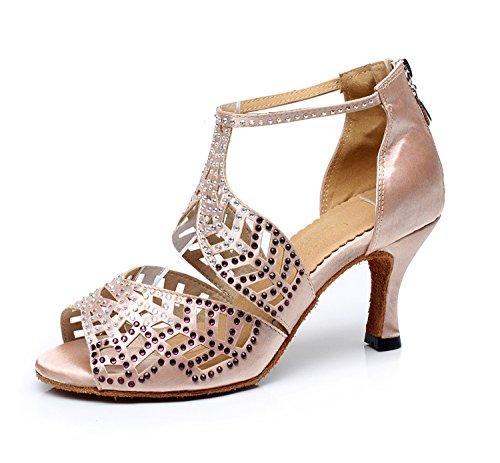 Minitoo qj7014da donna cristalli satinato moderno Salsa Tango Ballroom Latina festa di nozze sera scarpe da ballo Ivory