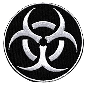 Ecusson us army zombie brodé thermocollant patch nucleaire radioactif radioactivité nuclear 8cm biker