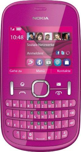 Nokia Nokia Asha 201 Handy (6,1 cm (2,4 Zoll) Display, 2 Megapixel Kamera, QWERTZ-Tastatur) pink