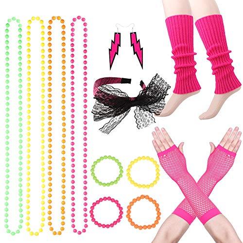 AIM Cloudbed 80er Jahre Party Dekoration Neon Halsketten Armbänder 80er Jahre Spitze Stirnband Netzhandschuhe Beinstulpen Neon Ohrringe Fancy Dress Zubehör für Frauen Mädchen