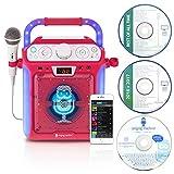 Singing Machine SML682BTP Bluetooth CDG Plus Tablet Karaoke Machine - Pink