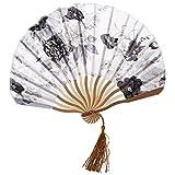 TOOGOO(R) Chinesisch Grau Pfingstrose Bluete Stoff Bambus-faltreifen Tanzend Hand-faecher Weiss