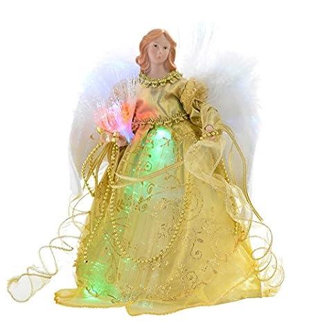 WeRChristmas Sapin de Noël en forme d'ange ailé fibre optique 30cm, or