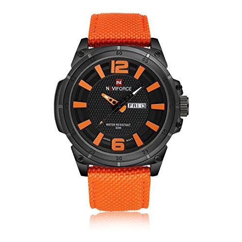 Naviforce reloj de hombres de negocios Casual exclusivo calendario semana pantalla lona banda cuarzo muñeca watch-orange