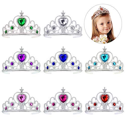 QIMEI-SHOP Princess Tiara Crown Set 8 Pezzi Girls Dress up Party Accessories per Bambini Bambine Compleanno Festa