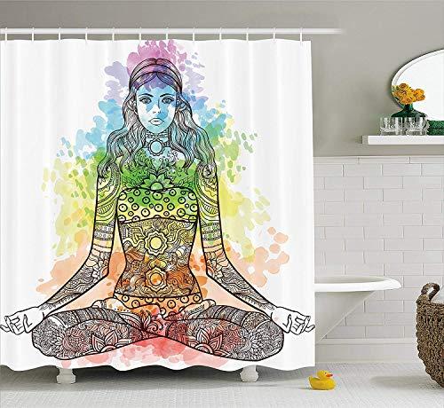 ADAM MARTINEZ JR Yoga Shower Curtain, Tattoo Mehndi Style Vintage Ornate Woman Figure in Lotus Pose Chakra Aura Watercolor, Fabric Bathroom Decor Set with Hooks, 84 Inches Extra Long, Multicolor