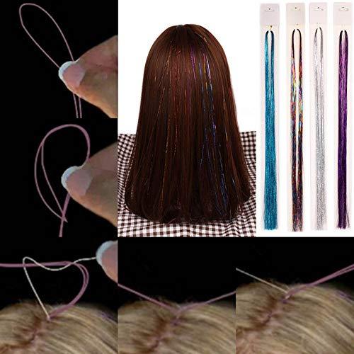 1 Stücke Heißer Prickelnde Synthetische Clip In Einem Stück Laser Haar Glitter Funkelnde Blenden Bunte Lametta Haarverlängerung