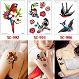 adgkitb 2 Piezas Tatuaje Temporal Etiqueta Falsa Flor de Zorro para Tatuajes Pegatina Cuello Arte 15x10.5 cm