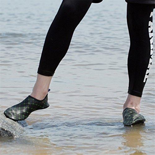 SAGUARO® chaussure aquatique chaussures de bain chaussons d'eau chausson de sport pour femme et homme Noir Vert