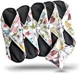 Bamboo Charcoal Reusable Sanitary Pads X 5 with HEAVY Flow Absorbency Layer and Size. The Smartest New Way to Avoid Leaks, Odors and Staining. Save Hundreds of Dollars and Massive Amounts of Landfill Waste. Pretty Pattern, Secure Snap to Stay in Place and Total Peace of Mind with These Top Quality Reusable, Washable Menstrual Cloth Pads.