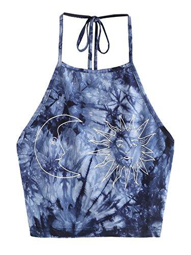 ROMWE Damen Tie Dye Neckholder TrägerCrop Top Sommer Schulterfrei Bauchfrei Crop Top Blau Muster L (Shirt Dye Tie Damen)