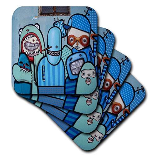 3dRose Spirituelle Erwachen Graffiti Art–Graffiti Wall Art Cartoon Zeichen in Blues–Untersetzer–Set aus 8Untersetzern–weich