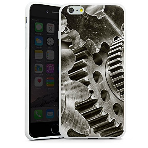 Apple iPhone X Silikon Hülle Case Schutzhülle Mechanik Zahnräder Getriebe Silikon Case weiß