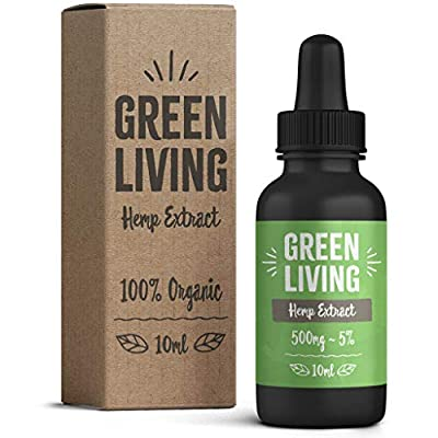 Green Living Hemp Oil Drops 10ml Full Spectrum | 100% Organic Natural Ingredients | Vegan & Vegetarian Friendly by Green Living