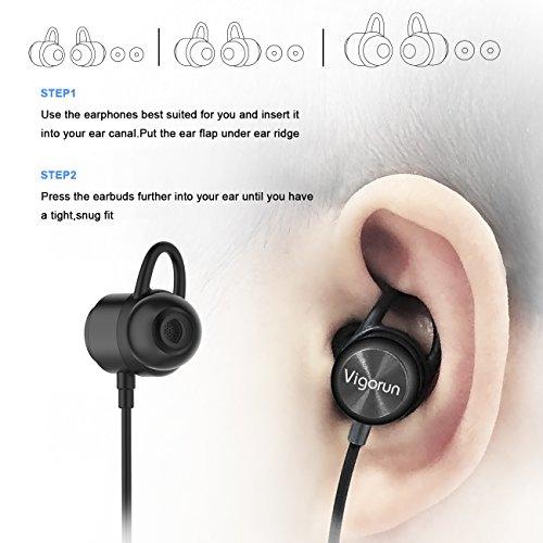 Vigorun Bluetooth Kopfhörer Y3 Kabellos Stereo Ohrhörer In-Ear Magnetisches Schnurlose Sport Ohrhörer Bluetooth V4.2 IPX6 Wasserdicht CVC 6.0 Noise Cancellation, für Sport und Workout(Schwarz) - 4