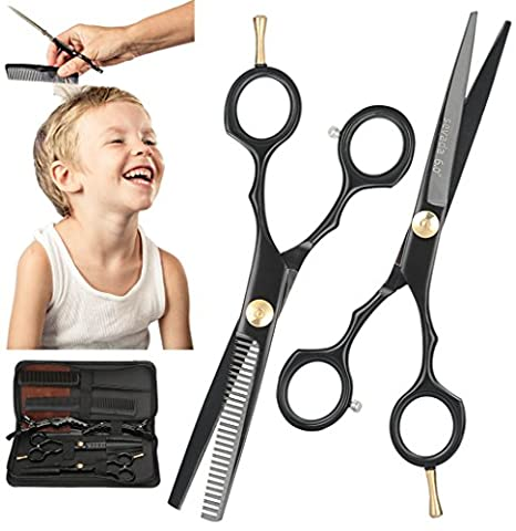 Professional Hairdressing Barber Salon Scissors Hair Thinning Scissors Set 6 Inch Black, Women Men Hair Cutting Equipment Tool in