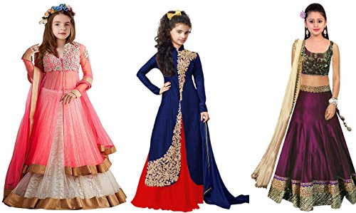 Market Magic World Girl\'s Banglori & Net Semi Stitched Kids Wear Lehenga Choli (MMW-09258_Pink,Blue & Purpel_Free Size_8 to 12 year age)