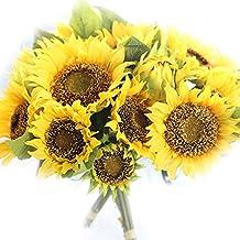 QHGstore Girasol artificial nupcial ramo de flores de seda ramos de la boda Decoración del hogar amarillo