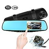 Dashcam Rückspiegel Monitor Autokamera 4,3 Zoll 1080P Full HD Display Spiegel Dashcam mit Rückfahrkamera, 170°Weitwinkel und Dual-Objektiv mit Einparkhilfe, Bewegungserkennung, G-Sensor, WDR und Loop-Aufnahme