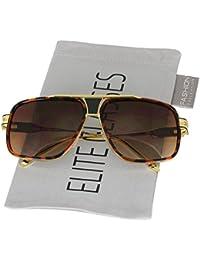 6acbd903c52 Oversized Square Aviator Sunglasses for Men Women Goggle Alloy Frame Brand  Designer (Tortoise Gold-