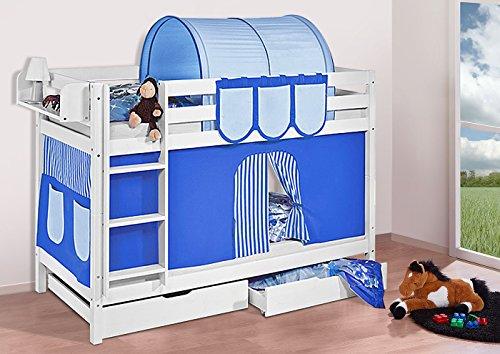 Etagenbett Jelle : ᐅᐅ】 etagenbett jelle blau mit vorhang weiss lilokids