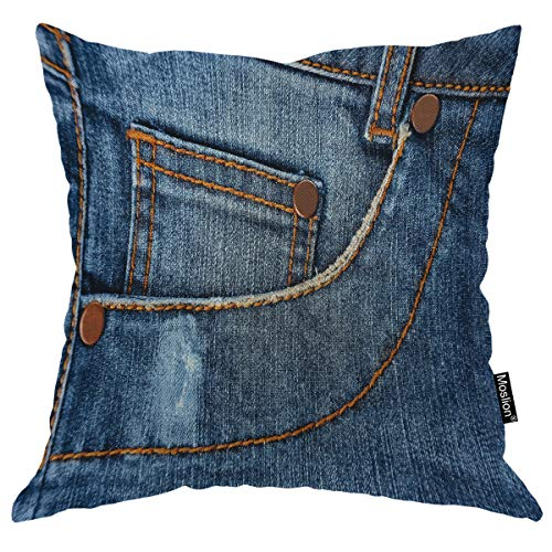 Moslion Blue Kissen Classic Fashion Jeans Pocket Cloth Hosen Line Throw Kissenbezug 40,6 x 40,6 cm Baumwolle Leinen Quadrat Kissen Dekorative Bezug für Sofa Bett 24x24 Inch A557-1 -