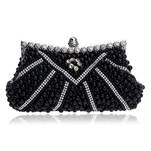 Mihaojianbing Perlen Abendtasche, Europäischen Und Amerikanischen Damen Bankett Tasche, Kleid Mit Abendtasche, DREI Farben, 23 * 12 * 5cm (Color : Black)