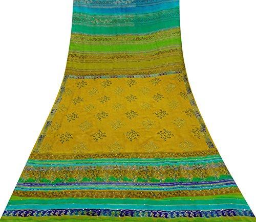 Vintage Reine Seide bestickt Saree Indian Multicolor Craft Sari verwendet Stoff