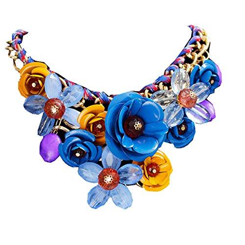 (Yogogo Mischart Kette Kristall Bunt Blume Luxus Weben Halskette für Frauen (Blau))