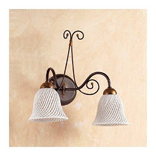Applique Wandleuchte 2flammig mit Teller aus Keramik mit Glocke a Spaghetti Retro Country–Ø 14cm (Glocken Applique)