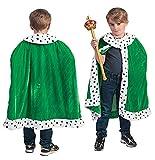 Kostüm Cape Froschkönig Kind Einheitsgröße circa 140 Kinderkostüm Mantel Grün König Märchen Karneval Fasching Pierros
