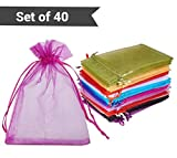 #2: TiedRibbons Organza pouch | return gift bags for kids birthday | return gift bags for kids birthday | return gift bags jute | Organza pouch for wedding return gifts (15 cm X 10 cm, Assorted Color ) Set of 40 Pouches