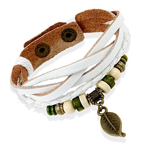 ZGRJIUERYI Armband,Kreative Uhr Mit Mehrschichtigem Armbandschmuck, Weiß Gewebtem Retro-Blatt-Anhänger, Personalisiertem Bekleidungszubehör Bolo Serie