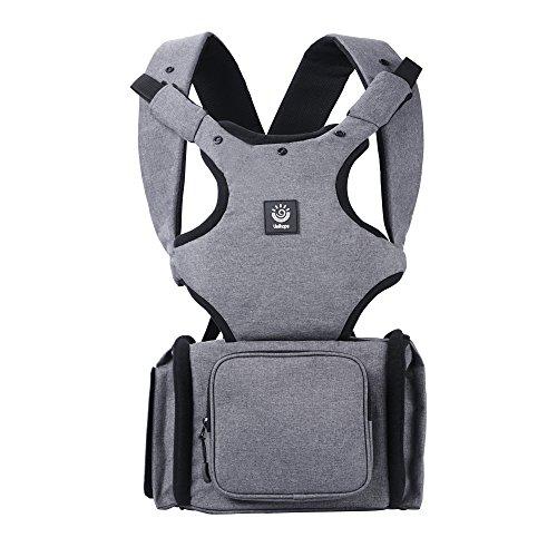 Unihope 360 All-in-One-Ergonomische Babytrage, Kindertrage, Bauchtrage, Rückentrage, variable Blickrichtung mitwachsend, verstellbar und Multifunktions-Baby-Wickeltasche Rucksack mit großer Kapazität und Patentdesign für Nasstasche, Neugeborene bis zum Kleinkind, Deep Grey