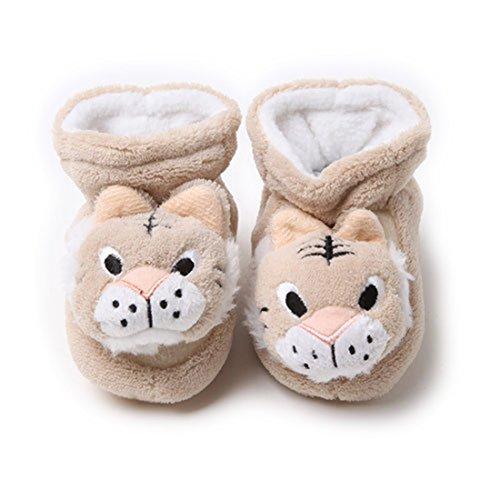 VWU Unisex Baby Mädchen Jungen Socken Neugeborene Starke Warme Erstlingssöckchen Anti Rutsch Streifen Einfarbig Dicke Socken Winter Terry Gekämmte Baumwolle 0-6 Monate (Braun Tiger)