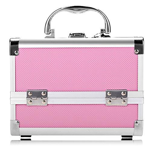 Nakey Aluminium Kosmetikkoffer, Multikoffer Etagenkoffer Transportkoffer Cosmetic Make up Beauty Case 20 x 15.5 x 15.5 cm Rosa (innen Rosa)