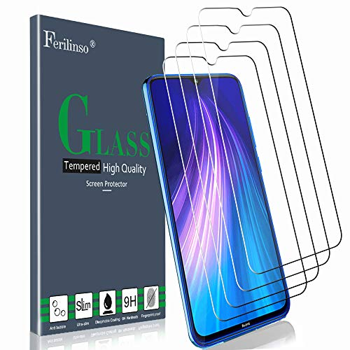 Ferilinso Cristal Templado para Xiaomi Mi 9 Lite, Redmi Note 8, Redmi 7, Redmi S3 Protector de Pantalla,[4 Pack] Protector de Pantalla Screen Protector con garantía de reemplazo de por